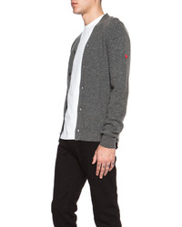 Comme des Garcons Play Lambswool Cardigan With Small Red Emblem Sleeve