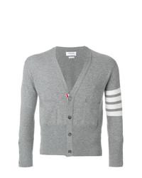 Thom Browne Short V Neck Cardigan With 4 Bar Stripe In Light Grey Cashmere