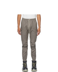 Rick Owens Grey Poplin Cargo Jogger Pants