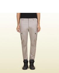 Gucci Grey Stretch Light Cotton Cavalry Multi Pocket Cargo Pant From Viaggio Collection