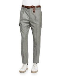 Slim fit wool cargo pants gray medium 348886
