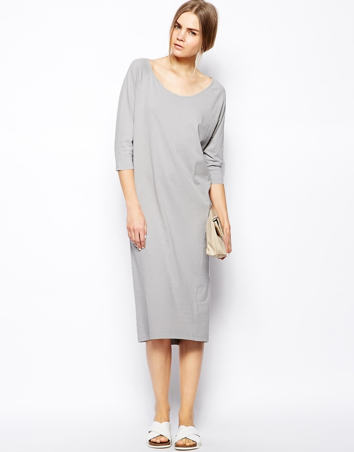 476914fb9887 ... Casual Dresses Selected Mallie Midi Dress In Jersey Gray