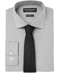 Nick Graham Fitted Chambray Dress Shirt Houndstooth Tie Set