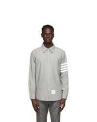 Thom Browne Grey Chambray 4 Bar Straight Fit Shirt