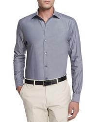 Ermenegildo Zegna Solid Chambray Long Sleeve Shirt Dark Gray