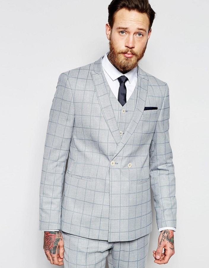 44ce28059a5c ... Grey Check Blazers Asos Brand Skinny Double Breasted Suit Jacket In  Light Blue Check ...
