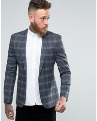 Asos Skinny Blazer In Gray And Blue Check