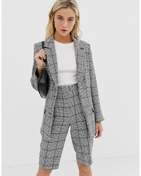 ASOS DESIGN City Suit Blazer In Khaki Houndstooth Check