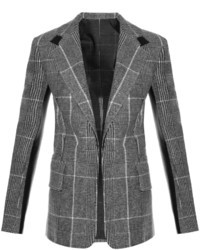 Leather panel checked wool blazer medium 6860318