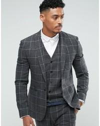 Super skinny suit jacket in charcoal windowpane check medium 3744779