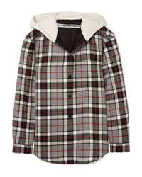 Alexander Wang Checked Wool Flannel And Cotton Jersey Jacket