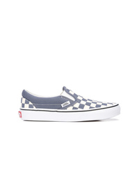 Grey Check Canvas Slip-on Sneakers