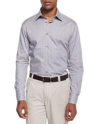 Ike Behar Chambray Check Sport Shirt Gray