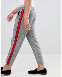 Bershka Check Trousers In Grey With