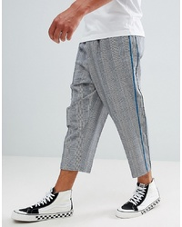 ASOS DESIGN Drop Crotch Tapered Smart Trousers In Grey Prince Of Wales Check And Velvet