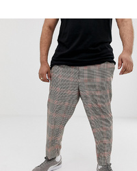 ASOS DESIGN Plus Tapered Trouser In Brown Check