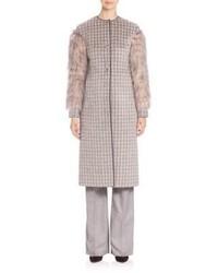 Agnona Fur Sleeve Alpaca Wool Cashmere Jacquard Check Coat