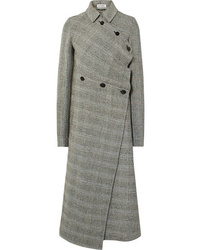 Jil Sander Asymmetric Prince Of Wales Checked Wool Blend Coat