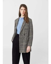 Mango Check Wool Blend Coat