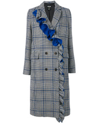 MSGM Frilled Checked Double Breasted Coat
