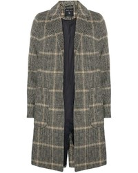 Grey And Camel Pow Check Coat