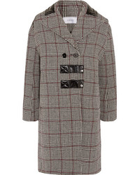 Patent leather trimmed checked wool blend coat gray medium 5173064