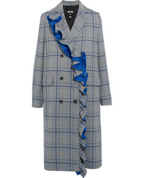 MSGM Ruffled Checked Cotton Blend Coat Gray