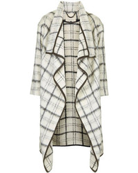 Topshop Waterfall Textured Cream And Grey Blanket Check Coat With Knitted Bound Edges 30% Wool 24% Alpaca 24% Mohair 22% Polyamide Dry Clean Only