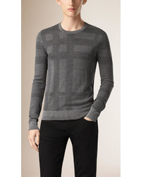 Burberry Check Crew Neck Silk Sweater