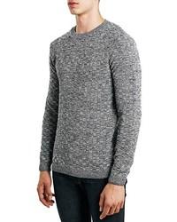 Topman Textured Check Crewneck Sweater