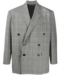 Balenciaga Check Pattern Double Breasted Blazer