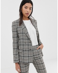 ASOS DESIGN Double Breasted Suit Blazer In Check With Burgundy