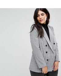 Fashion Union Plus Double Breasted Blazer In Check