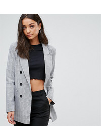 Fashion union tall double breasted blazer in check medium 6870498