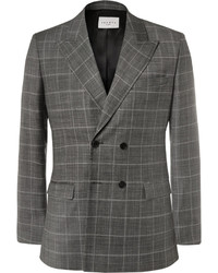 Sandro Grey Slim Fit Double Breasted Checked Virgin Wool Blazer