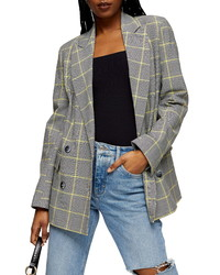 Topshop Lemon Check Double Breasted Blazer