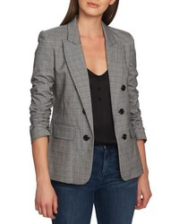 1 STATE Ruched Sleeve Glen Plaid Blazer