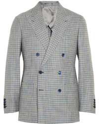 Thom Sweeney Duke Double Breasted Check Linen Blazer