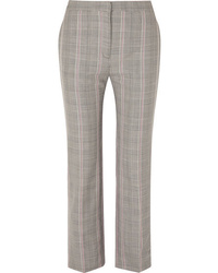 Alexander McQueen Cropped Prince Of Wales Checked Woven Straight Leg Pants