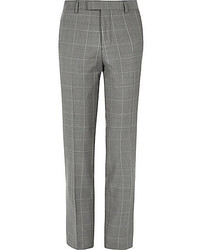 River Island Grey Checked Slim Suit Pants