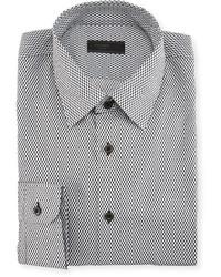Prada Check Print Dress Shirt Gray