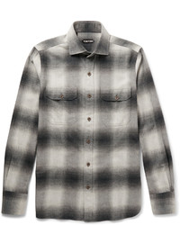 Grey Check Flannel Long Sleeve Shirt