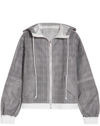Hooded laser cut prince of wales checked cotton jacquard jacket dark gray medium 3754210