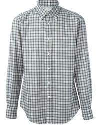 Brunello Cucinelli Checked Button Down Collar Shirt