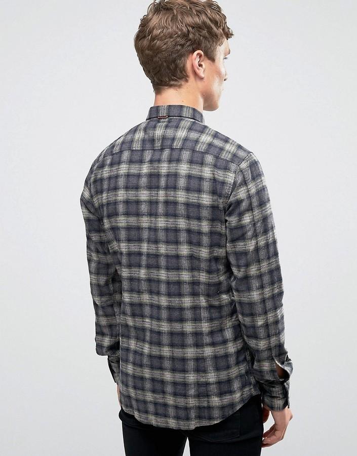 Hugo Boss Grey Checkered Button Down Slim Fit
