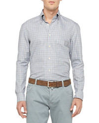 Kiton Check Cotton Shirt Grayaqua
