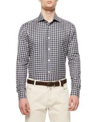 Kiton Check Long Sleeve Shirt Navypurplegreen