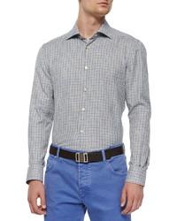 Kiton Check Long Sleeve Woven Shirt Brownblue