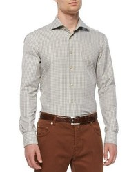Kiton Check Long Sleeve Woven Shirt Olivetan