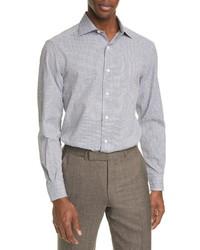 Ermenegildo Zegna Classic Fit Check Seersucker Button Up Shirt